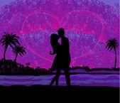 ロマンチックなカップルの日没でビーチにキスをします。 — ストックベクタ