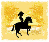 Silhouette of Cowgirl and Horse - grunge background — Stock Vector