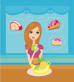 Diet eating temptation — Stock Vector