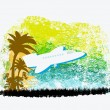 Illustration of airplane with palm of tropics — Stock Vector