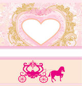 Vintage floral carriage invitation — Stock Vector