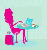 Shopping online - giovane sorridente donna seduta con computer portatile — Vettoriale Stock