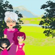 Grandmother with grandchildren on a walk in the park — Stock Vector