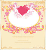 Happy valentines day card with cupids — Stock Vector