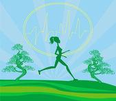 Dziewczynka jogging - karta — Wektor stockowy
