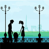 Family in Paris, with the Eiffel Tower — Stock Vector