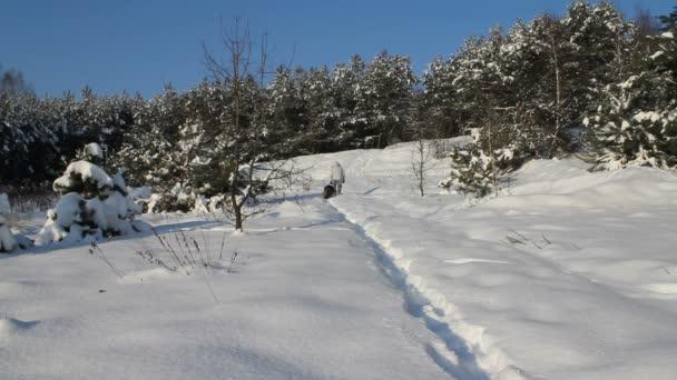 Hombre y el perro corriendo en la nieve — Vídeo de stock