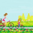Mother and daughter biking — Stock Vector