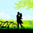 Sillhouette of sweet young couple in love standing in the park - Stock Vector