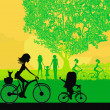 Stock Vector: Mother and daughter biking in the park
