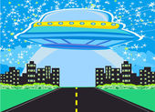UFO spaceship and big night city — Stock Vector