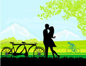 Sillhouette of sweet young couple in love standing in the park — Stock Vector