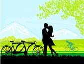 Sillhouette 甜蜜的年轻情侣在爱站在公园 — 图库矢量图片