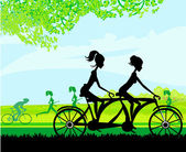Girls riding tandem bicycle — Stock Vector
