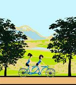 Girls riding tandem bicycle — Stock Vector
