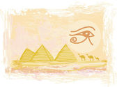 Egypt symbols and Pyramids - Traditional Horus Eye symbol and ca — Stock Vector
