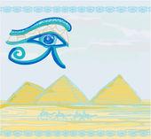 Egypt symbols and Pyramids - Traditional Horus Eye symbol and ca — Stock Vector