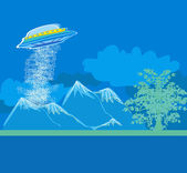 UFO hovering over a landscape — Stock Vector