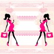 Stock Vector: Beautiful pregnant womon shopping - card