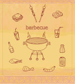 Vintage Barbecue Party Invitation — Stock Vector