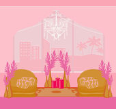 Fashionable interior of living room - vector — Stock Vector