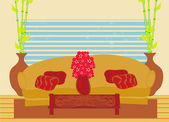 Fashionable interior of living room - vector — 图库矢量图片