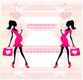 Beautiful pregnant woman on shopping - card — Stock Vector