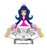 年轻漂亮的女巫与水晶球. — 图库矢量图片