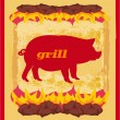 Pig Grunge poster - Grill Menu Card Design template.  — Stock Vector