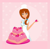 Baking a cake.Illustration of lady baker making a cake — Stock Vector