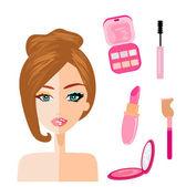 Ritratto di donna, metà naturale, metà con make up e ritoccata — Vettoriale Stock