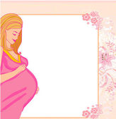 Happy pregnant woman, baby shower card — Stock Vector