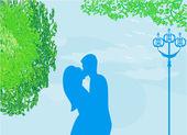 Pareja besándose al atardecer en el parque, fondo vector illustra — Vector de stock