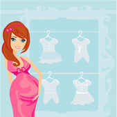 Beautiful pregnant woman on shopping for her new baby — Stock Vector