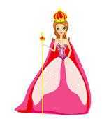 A vector illustration of cartoon queen — Stock Vector