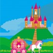 Stock Vector: Castle and beautiful carriage