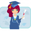 Illustration of a Kid Holding Her Diploma — Imagen vectorial