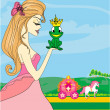 Beautiful young princess kissing a big frog — Vector de stock