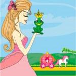 hermosa joven princesa besar a una rana grande — Vector de stock