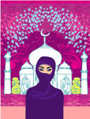 Vector illustration of a young beautiful muslim women on seamles — Stock Vector