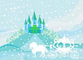 Paesaggio invernale con il castello e la carrozza bella — Vettoriale Stock