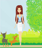Pretty girl walking the dogs — Stockvektor