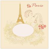 Romantic couple in Paris kissing near the Eiffel Tower — Stock Vector