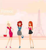 красивые девушки шоппинг в париже — Cтоковый вектор