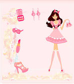 Fashion girl Shopping card — Stock Vector