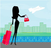 Beauty travel girl with baggage — Stock Vector