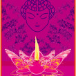 Royalty-Free Stock Imagen vectorial: Lotus Oil Lamp with Buddha
