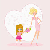 Little girl giving flowers to mom on mother's day — Stock Vector