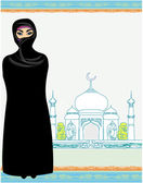 Belas mulheres muçulmanas em fundo de Mesquita. — Vetor de Stock