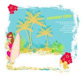 Vertor Surf Beach illustration — Stock Vector